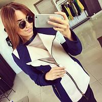 Пальто женское Лючия сине-белое , купить пальто
