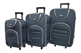 Набір дорожніх валіз на колесах Siker Lux набір 3 штуки Сірий