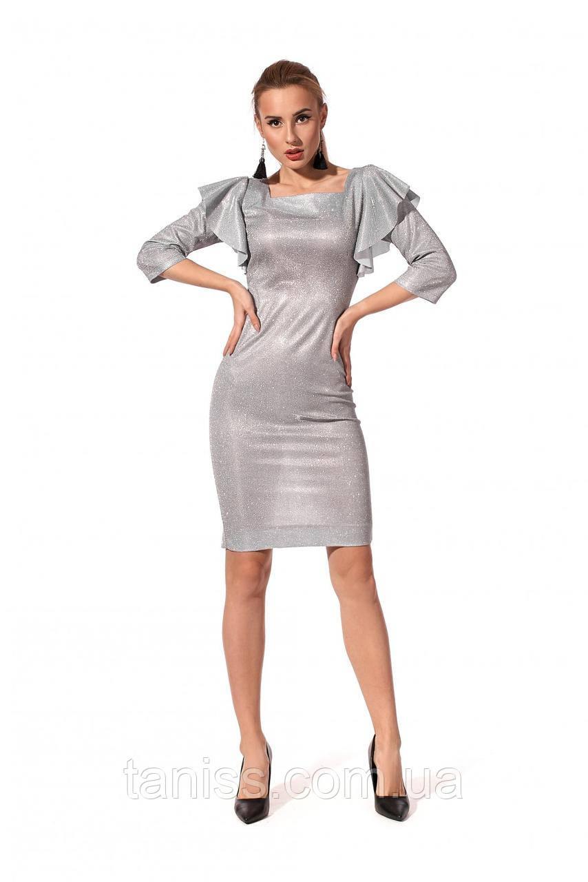 Праздничное,женское платье, ткань трикотаж люрекс, размеры 42,44,46,48 (1216.2)серебро,сукня