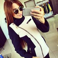 Пальто женское Лючия черно-белое , магазин пальто