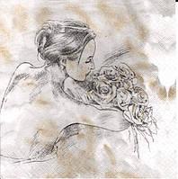 """Салфетки для декупажа """"Девушка с розами"""" 33*33 см №394"""
