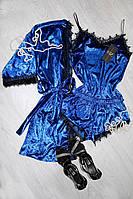 Велюровый комплект тройка цвета электрик с французским кружевом, молодежная женская одежда для дома и сна