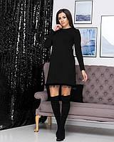 Женское платье трапеция из мягенькой ангоры черного цвета