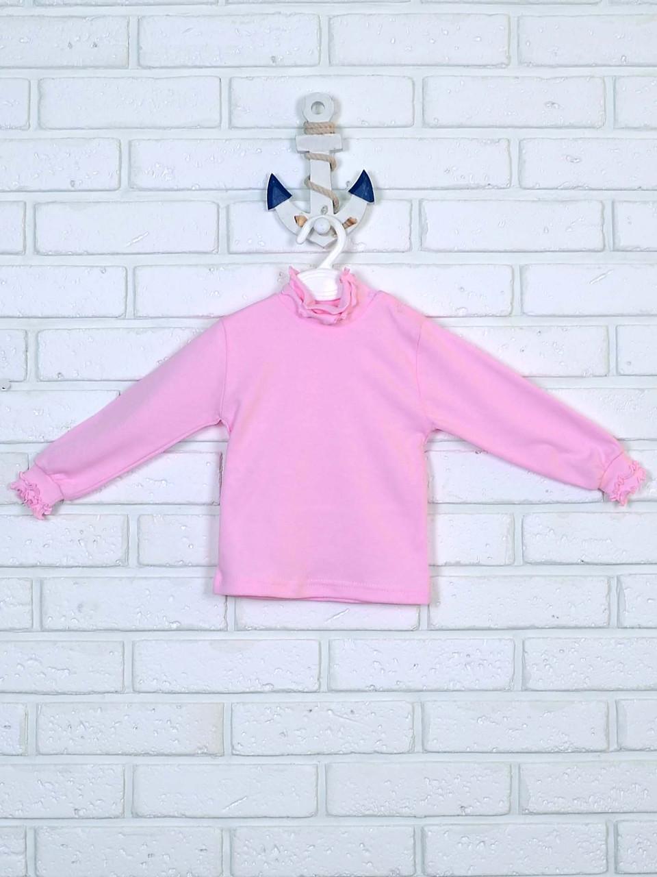 Розовая водолазка с рюшами 86-110