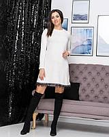 Женское платье трапеция из мягенькой ангоры молочного цвета