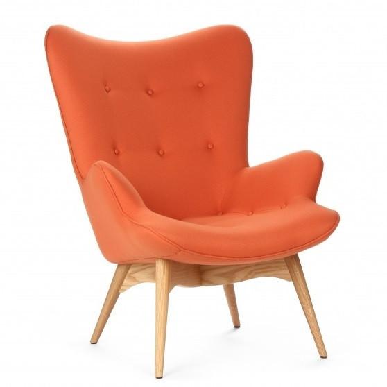 Дизайнерское мягкое кресло Флорино, дерево бук, цвет оранжевый