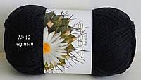 Нитки пряжа для вязания акриловая Ареола № 12  -  ЧЕРНЫЙ
