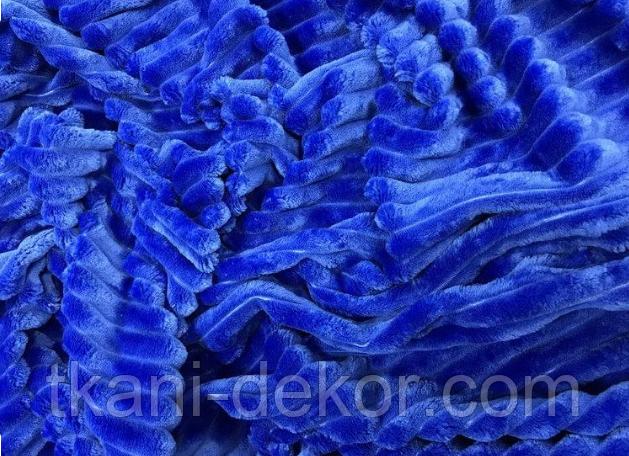 Ткань плюшевая Minky Stripes синий (шарпей)