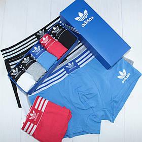 5 шт В НАБОРЕ Мужских БОКСЕРОВ Adidas/ Адидас, трусы- транки, МИНИ- шорты, боксеры В Подарочной Коробке