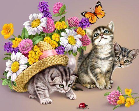 DM-042 Набор алмазной живописи Игривые котята