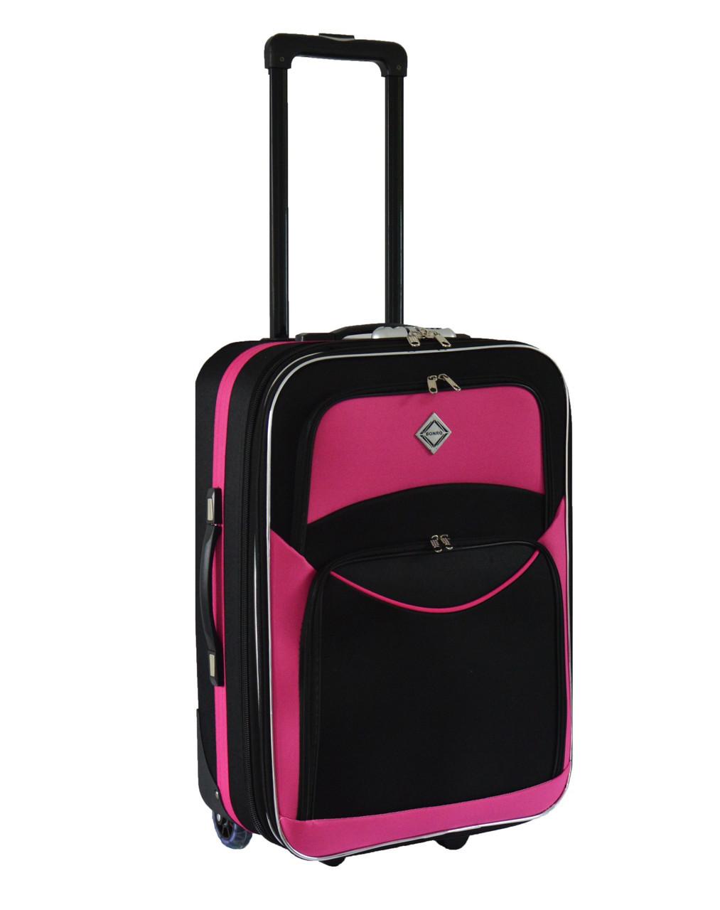 Дорожный чемодан на колесах Bonro Best Черно-розовый Небольшой