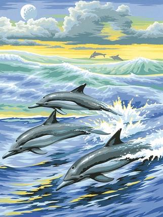 DM-043 Набор алмазной живописи Семья дельфинов, фото 2