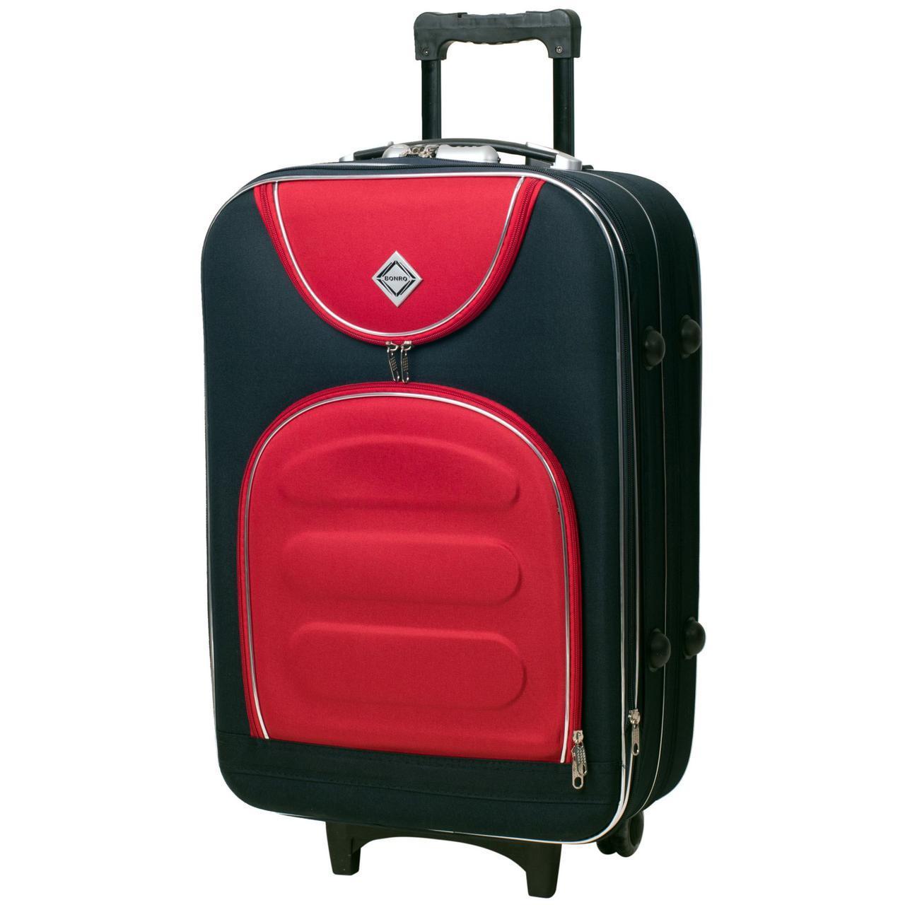 Дорожный чемодан на колесах Bonro Lux Темно-синий-красный Средний