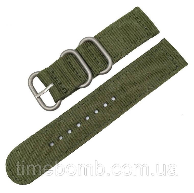 Зеленый нейлоновый ремешок для часов со стальной пряжкой