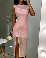 Платье-двойка Алмаз розовое