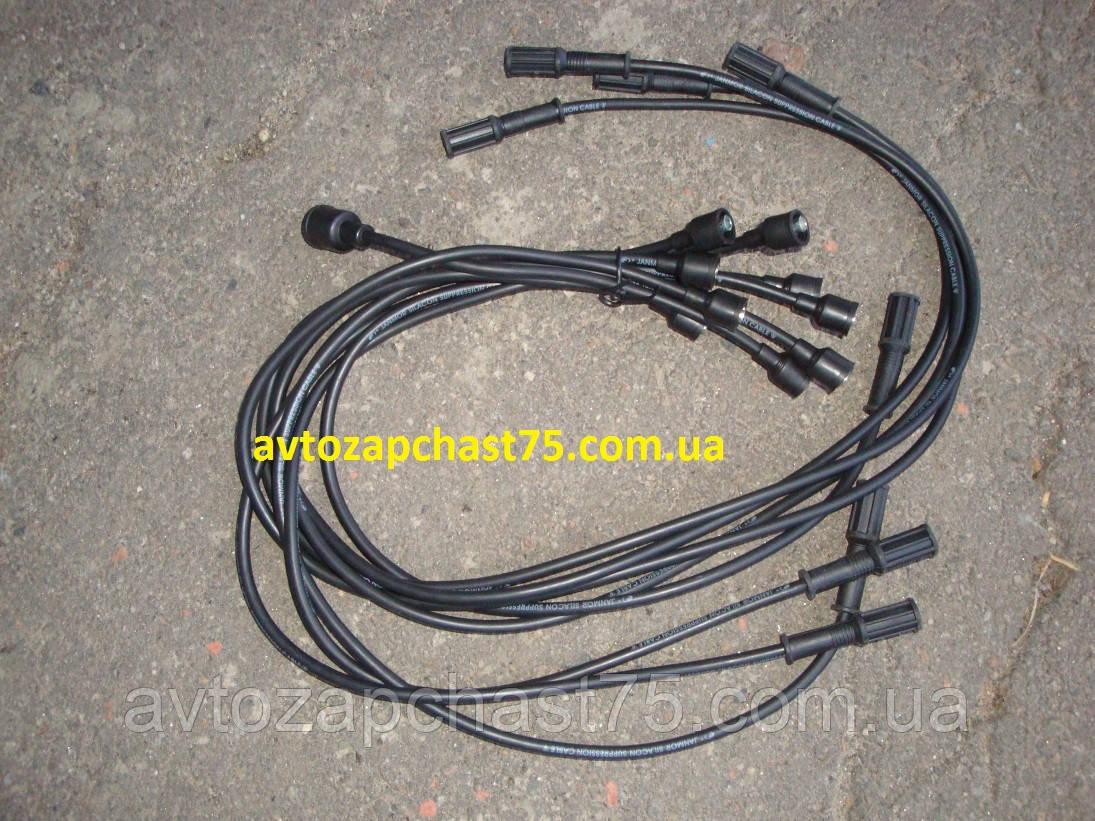 Провода зажигания Зил 130, Газ 53, 3307, силикон, 9 штук, комплект, чёрные (производитель Janmor, Польша)