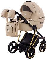 Детская коляска универсальная 2 в 1 Adamex Mimi Polar (Gold) кожа 100% CR-305(Адамекс, Польша)