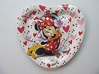 """Тарелки бумажные в форме сердца """" Мини Маус"""". 18см.10 шт."""