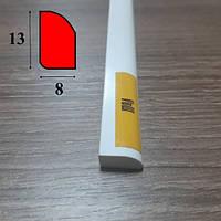 Штапик четверть из вспененного ПВХ 13 мм х 8 мм, 2,7 м Белый