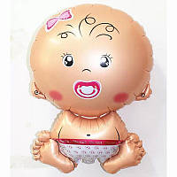 Фольгированный воздушный шарик Новорожденный Малышка розовый 65 см.