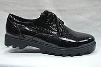Туфли кожаные на толстой подошве со шнурками АВК