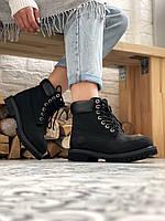 Ботинки Женские Зимние Timberland 6 Inch Premium Black Чёрные