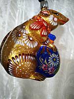 Ялинкова Мишка жовта, Петриківський розпис (ручна робота) — Mouse yellow, Petrikov painting (handmade).
