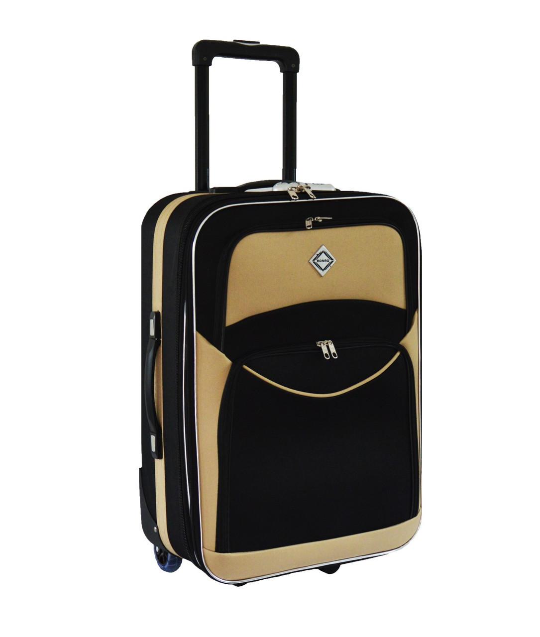Дорожный чемодан на колесах Bonro Best Черно-кремовый Средний