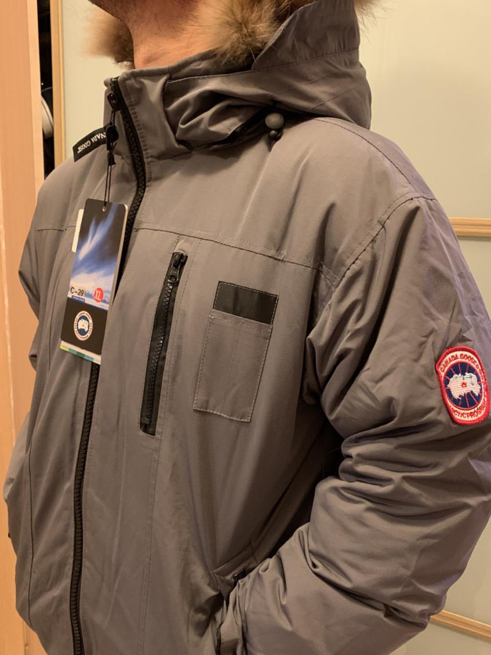 Серый короткий мужской зимний пуховик canada goose chilliwack bomber Канада Гус