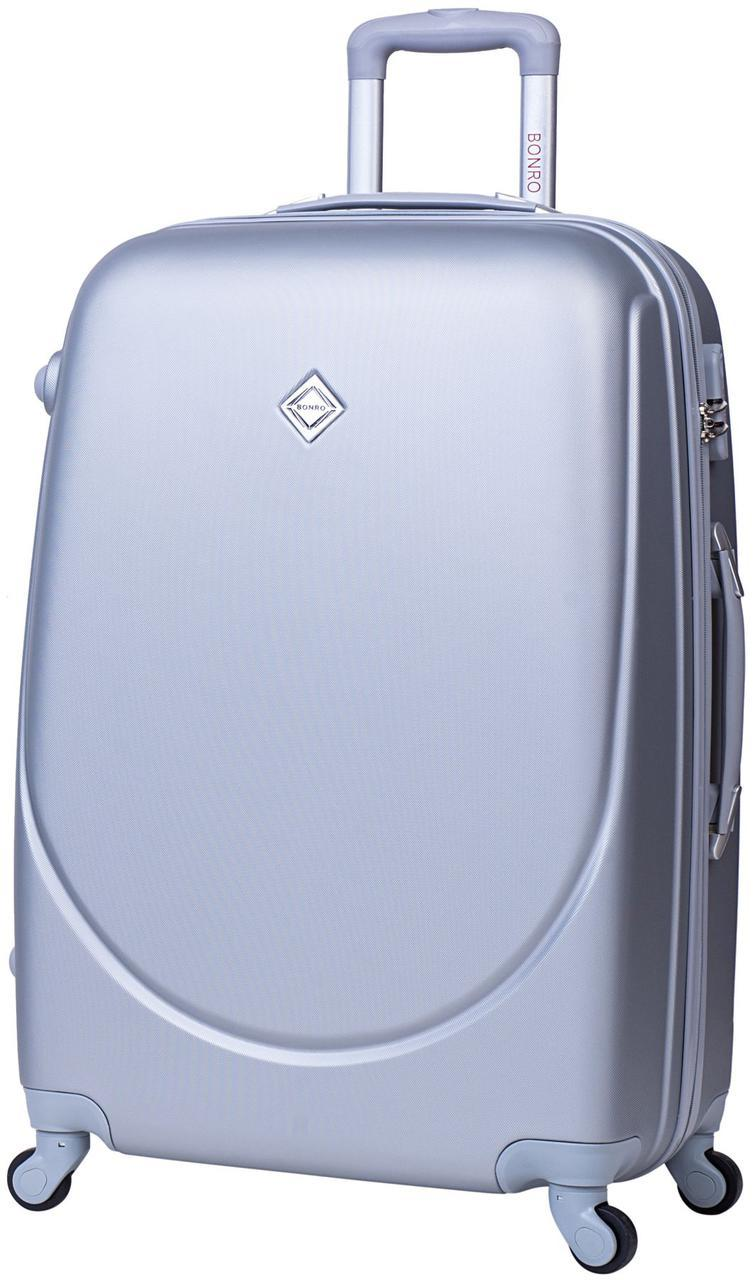 Дорожный чемодан на колесах Bonro Smile Серебряный Большой
