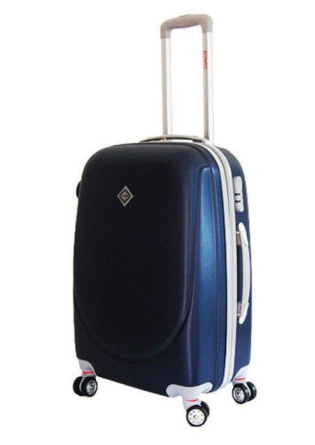 Дорожный чемодан на колесах Bonro Smile с двойными колесами Темно-синий Средний