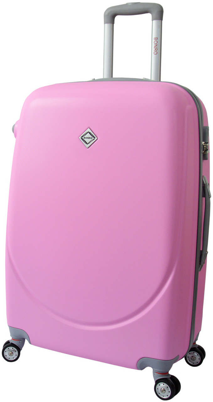 Дорожный чемодан на колесах Bonro Smile с двойными колесами Розовый Средний