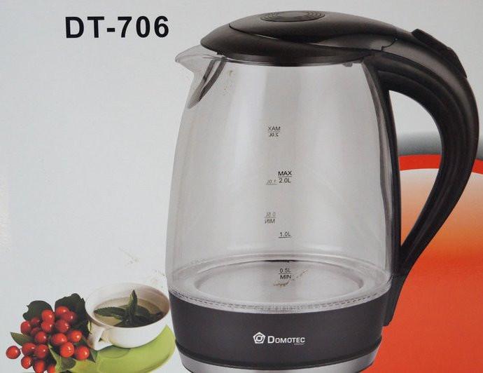 Стеклянный электрический чайник Domotec DT-706 с LED подсветкой
