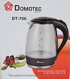 Стеклянный электрический чайник Domotec DT-706 с LED подсветкой, фото 3