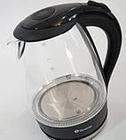 Стеклянный электрический чайник Domotec DT-706 с LED подсветкой, фото 4