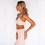 Спортивный костюм женский для фитнеса. Комплект лосины и топ для йоги, спорта, тренировок, размер M (розовый), фото 4