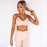 Спортивный костюм женский для фитнеса. Комплект лосины и топ для йоги, спорта, тренировок, размер M (розовый), фото 2