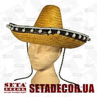 Шляпа желтое сомбреро  d=40 см из натуральной соломки. Продажа и прокат.