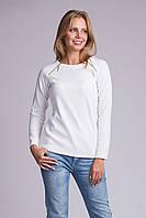 Белоснежный модный женский блузон с замочками