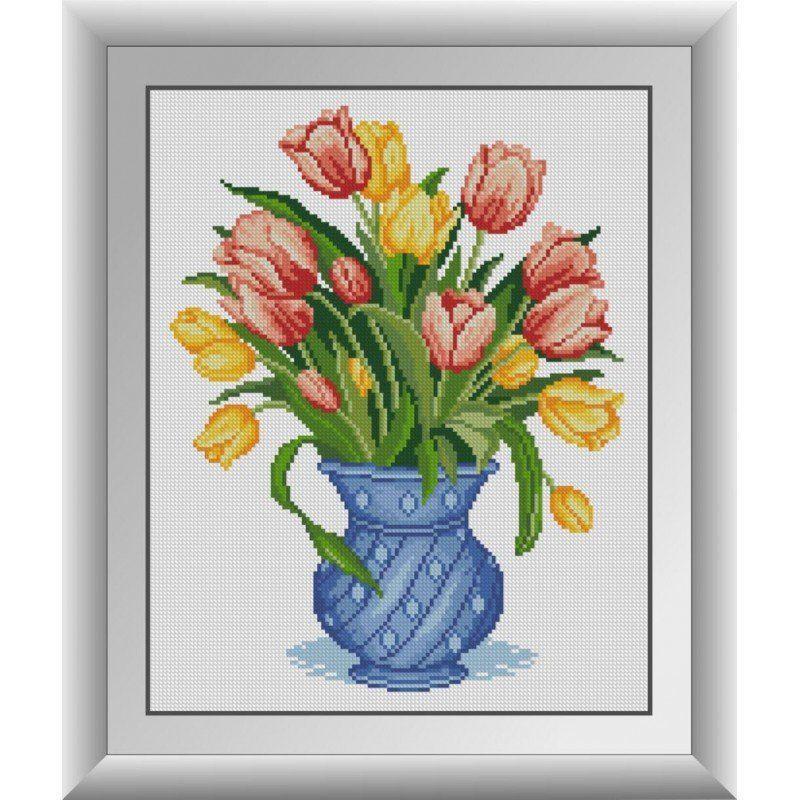 30715 Набор алмазной мозаики Тюльпаны в синей вазе