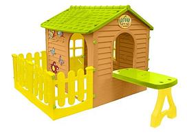 Большой детский садовый домик Mochtoys + столик с терасой (игровой домик для улицы и дома)