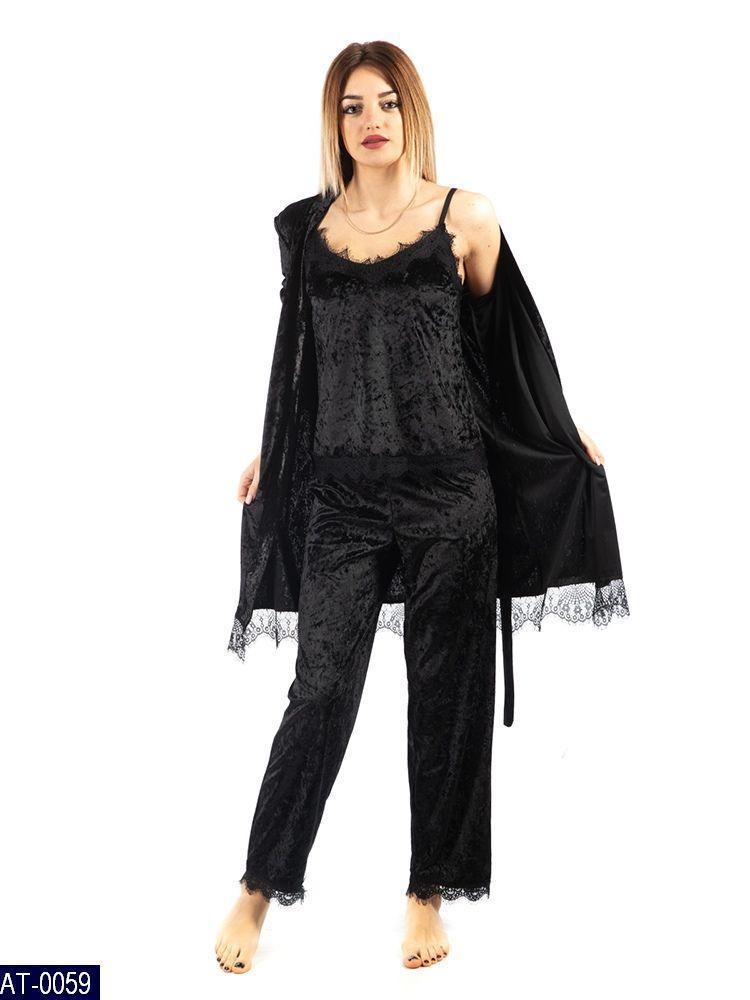 Женская красивая бархатная пижама комплект домашний тройка 42 44 46 48  размер есть цвета