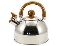 Чайник кухонный 2 литра из нержавеющей стали со свистком и коричневой ручкой для всех видов плит Zauberg