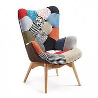 Дизайнерское мягкое кресло Флорино, дерево бук, цвет печворк., фото 1