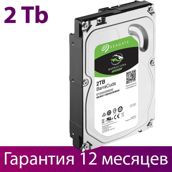 "Жесткий диск для компьютера 3.5"" 2 Тб/Tb Seagate BarraCuda, SATA3, 64Mb, 7200 rpm (ST2000DM006), винчестер hdd"