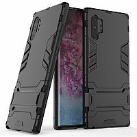 Чехол Hybrid case для Samsung Galaxy Note 10 Plus (N975) бампер с подставкой черный
