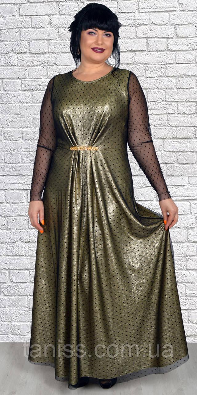 Женское,нарядное платье на запах ,ткань трикотаж диско.,р. 50,52,54,56 (1919)золото,сукня