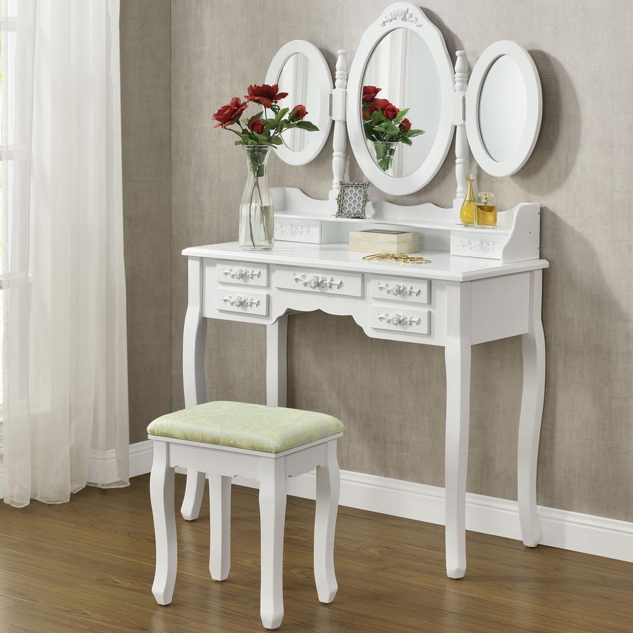 Туалетний столик 90см Monro білий з дзеркалом і стільчиком