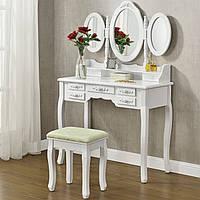 Туалетний столик 90см Monro білий з дзеркалом і стільчиком, фото 1