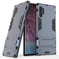 Чехол Hybrid case для Samsung Galaxy Note 10 Plus (N975) бампер с подставкой темно-синий